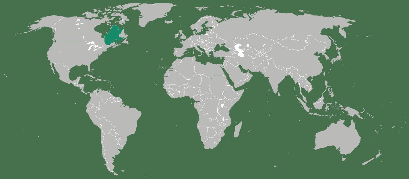 présentation de la destination avec le Québec coloré en vert sur la carte du monde
