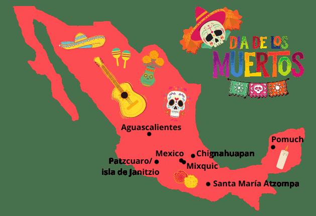 carte du mexique dia de los muertos