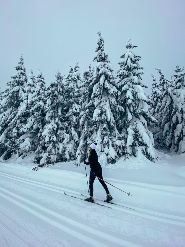 balade en ski de fond au dessous du Lac Pavin en Auvergne